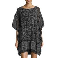 Max StudioPrinted Crimped Shirting Dress, Black/White
