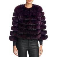 Maximilian FursLeather Trim Saga Fox Fur Coat