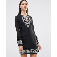 MayaKeyhole Front Ruffle Hem Long Sleeve Dress With Embriodered Detail - Black