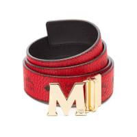 MCMClaus Golden Reversible Visetos/Saffiano Belt, Ruby Red