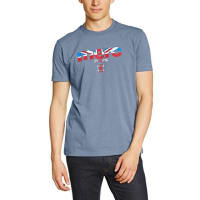 MercBroadwell - Camiseta de manga corta con cuello redondo para hombre, color bleu (dust blue)