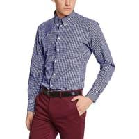 MercHarrington - Camisa de manga larga con cuello con botones para hombre, color bleu (royale blue)