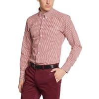MercHarrington - Camisa de manga larga con cuello con botones para hombre, Rojo (Blood), Medium