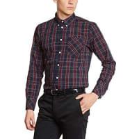 Merc1509214002 - Camisa casual de manga larga para hombre, color azul marino