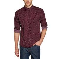 MercMerc - Camisa de manga larga con cuello con botones para hombre, color vino