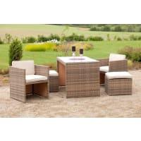 MerxxMERXX Gartenmöbelset »Merano«, 11-tgl., 2 Sessel, 2 Hocker, Tisch 128x70 cm, Polyrattan, natur, beige