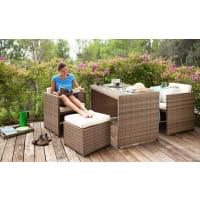 MerxxMERXX Gartenmöbelset »Merano«, 11-tgl., 2 Sessel, 2 Hocker, Tisch 128x70 cm, Polyrattan, natur, natur