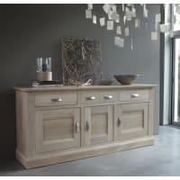 Meuble HouseBahut 3 portes 3 tiroirs chêne massif Stockholm blanchi