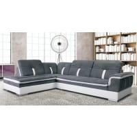 Meuble HouseCanapé angle gauche imitation cuir blanc et gris