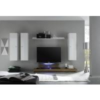 Meuble HouseEnsemble meuble TV laqué blanc et bois miel New box