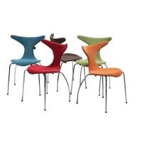 Meuble HouseLot de 4 chaises rouge en tissu Dola