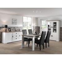 Meuble HouseSalle à manger complète blanche avec plateau bois en 190cm Monaco