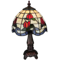 MeydaMeyda Tiffany Roseborder Table Lamp in Bark Brown