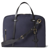 MiansaiMonroe Leather-trimmed Canvas Holdall - Navy