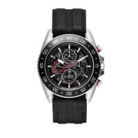 Michael Kors45mm JetMaster Silicone Watch, Silver/Black/Red