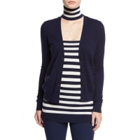 Michael KorsCashmere V-Neck Button-Front Cardigan, Maritime