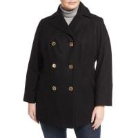 Michael KorsDouble-Breasted Wool-Blend Coat, Plus Size