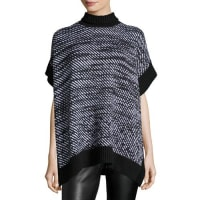 Michael KorsHoundstooth Twill Poncho, Black