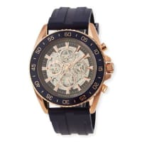 Michael KorsJetmaster Automatic Skeleton Chronograph Watch w/ Rubber Strap, Rose Golden/Blue