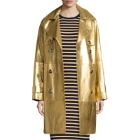 Michael KorsMetallic Leather Double-Breasted Trenchcoat, Gold