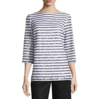 Michael KorsSequined Stripe 3/4-Sleeve Tunic, White/Black
