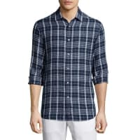 Michael KorsTailored Plaid Long-Sleeve Shirt, Navy