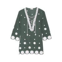 MiguelinaDaria Embroidered Cotton-voile Kaftan - Green