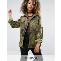 Milk ItVintage Military Jacket With Sequin Patches - Khaki camo