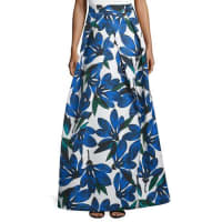 MillyFloral-Printed Ball Skirt, Blue