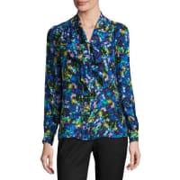 MillyLong-Sleeve Jewel-Print Satin Chiffon Tie-Neck Blouse, Multi