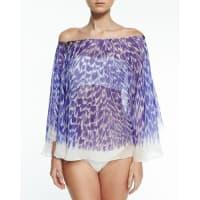 MillyPanama Brushstroke-Print Silk Chiffon Coverup, Cobalt