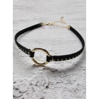 Minc CollectionsWomens Minc Collections Gold Suede Stud Choker Gold One Size