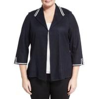 Ming Wang PlusContrast-Trim Mesh-Knit Jacket, Black/White, Plus Size