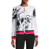 Ming WangFloral-Print Knit Jacket, Multi