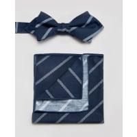 MinimumSet con farfallino e fazzoletto da taschino a righe - Blu