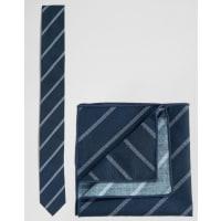 MinimumCompleto cravatta e fazzoletto da taschino a righe - Blu