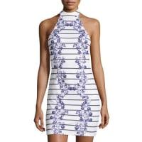 MinkpinkFloral-Print Halter Dress, White/Black Multi