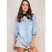 MinkpinkWomens Minkpink Basics Denim Trash Shirt Light Blue XXS/6