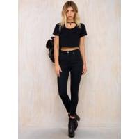 MinkpinkWomens Minkpink Black Out High Waisted Skinny Jeans Black XXS/6