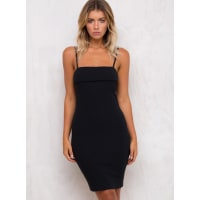 MinkpinkWomens Minkpink Folded Rib Slip Dress Black M/12