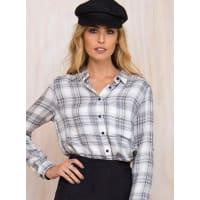 MinkpinkWomens Minkpink Secret Keeper Check Shirt Black/White L/14