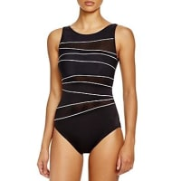 MiraclesuitNetwork Piped High Neck One Piece Swimsuit