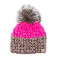Mischa LampertTwo-Tone Wool Fox-Trim Beanie Hat, Magenta/Gray