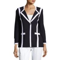 MisookContrast-Trim Knit Jacket, Blue/White