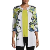 MisookFloral-Knit Long Jacket, Multi Colors, Petite