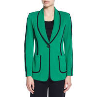 MisookModern Piped One-Button Jacket, Plus Size