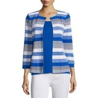 MisookTailored 3/4-Sleeve Striped Jacket