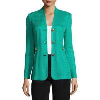 MisookTextured Gold-Button Jacket, Plus Size