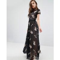 Miss SelfridgeMaxikleid aus Spitze mit Blumenverzierung - Schwarz