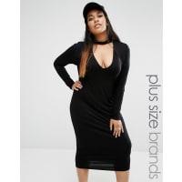 MissguidedChoker Detail Midi Bodycon Dress - Black